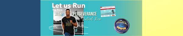 Let Us Run with Perseverance the Race Hebrews 12 1 Virtual Run registration logo