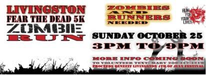 Livingston Fear the Dead 5k Run registration logo