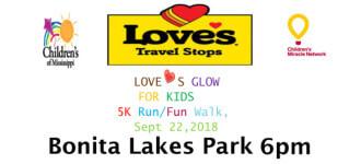 Loves Glow Run For Kids registration logo