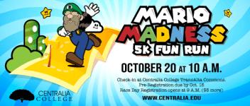Mario Madness 5k Fun Run registration logo