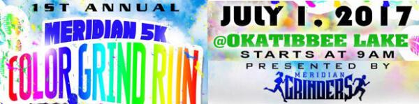 Meridian 5K Color Grind Run registration logo