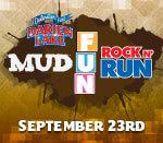 Mud, Fun, Rock 'n Run registration logo