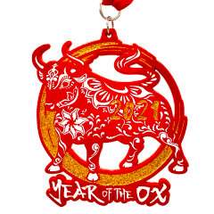 New Year Challenge - Year of the Ox 2.021 Mile 20.21 Mile 202.1 Mile registration logo