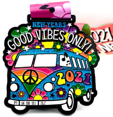 New Years-Good Vibes Only 1M 5K 10K 13.1 26.2 registration logo
