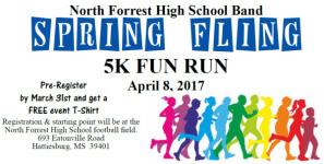 North Forrest High School Band Spring Fling 5k registration logo