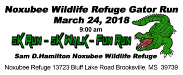 Noxubee Wildlife Refuge Gator Run 5K registration logo