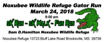 Noxubee Wildlife Refuge Gator Run 5K registration logo