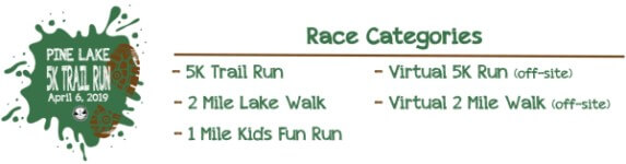 Pine Lake 5K Trail Run - Lake Walk - Kids Fun Run registration logo