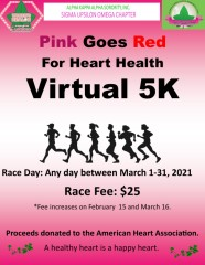 Pink Goes Red for Heart Health Virtual 5K registration logo