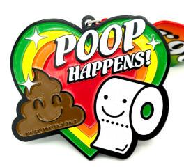 Poop Happens 1M 5K 10K 13.1 and 26.2 registration logo