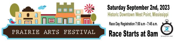 Prairie Arts Festival 5K registration logo