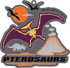 Pterosaurs -Dinosaurs 1M 5K 10K 13.1 26.2 registration logo