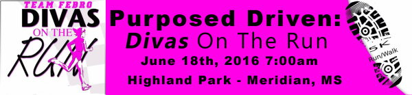 Purposed Driven Divas On The Run 5K and 2 Mile Walk registration logo