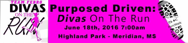 Purposed Driven Divas On The Run 5K and 2 Mile Walk registration logo