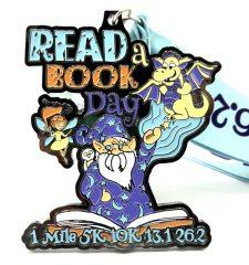 Read a Book Day 1M 5K 10K 13.1 26.2 registration logo