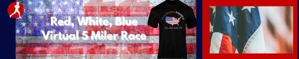 Red, White, Blue Virtual 5 Miler Race registration logo
