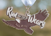 Run and Not Be Weary 5K, 10K, 13.1, 26.2 registration logo