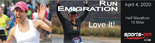 Run Emigration 10 Miler - Half Marathon registration logo
