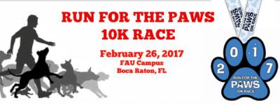 Run For The Paws 10k Race registration logo
