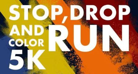 Stop, Drop, and RUN Color 5K registration logo