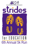 Strides for Education 5K Run registration logo