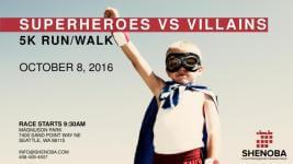 Superheroes VS Villains 5k Run/Walk registration logo