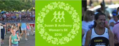 Susan B. Anthony Women's 5k and Elizabeth Cady Stanton Free Kids' half miler registration logo
