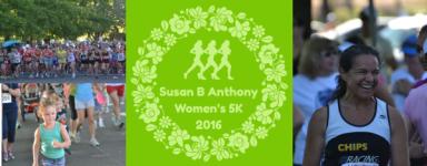 Susan B. Anthony Women's 5k and Elizabeth Cady Stanton Free Kids' half miler registration logo