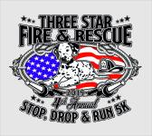 Three Star Stop, Drop, and Run 5K registration logo