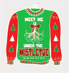 Ugly Sweater Day 1M 5K 10K 13.1 and 26.2 registration logo