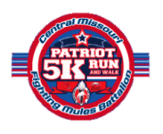 University of Central Missouri Fighting Mules Battalion Patriot 5K Run/ Walk registration logo