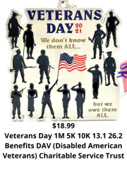 Veterans Day 1M 5K 10K 13.1 and 26.2