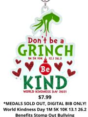 World Kindness Day 1M 5K 10K 13.1 and 26.2 registration logo