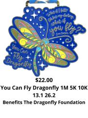 You Can Fly Dragonfly 1M 5K 10K 13.1 26.2 registration logo