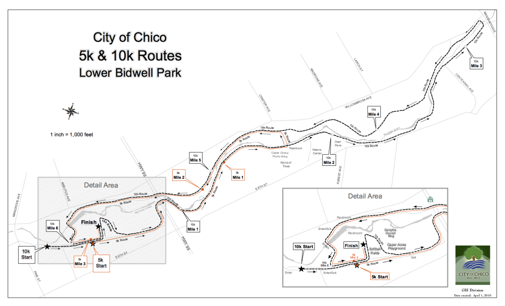 2018 Running Brave The Race To End Suicide Chico Course Map