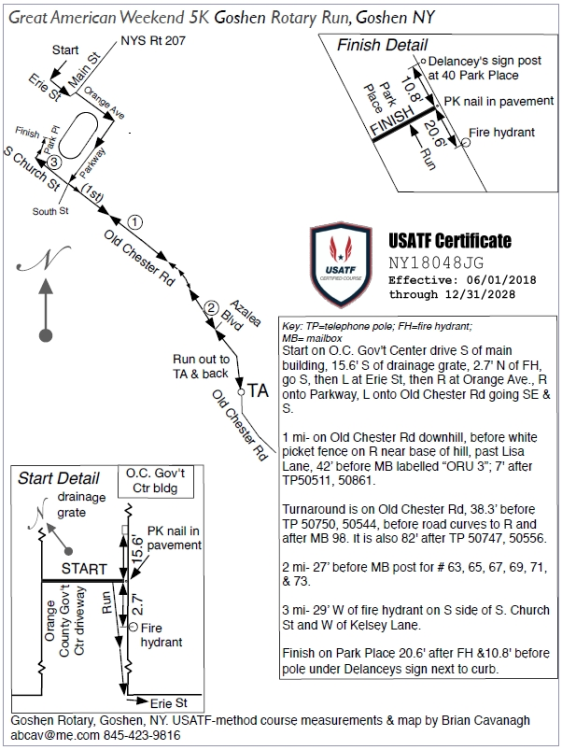 Us Map Certification.Great American Weekend 5k 10k Goshen Rotary Run Course Map