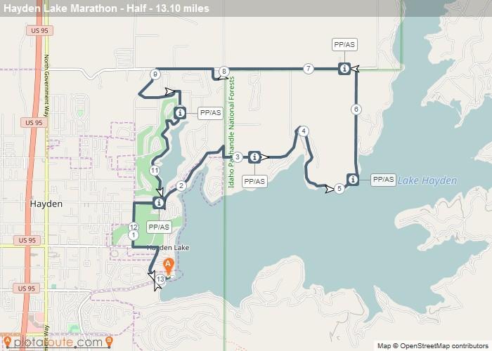 Hayden Lake Marathon Course Map