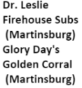 Dr. Leslie Firehouse Subs Glory Days Golden Corral logo