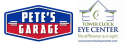 Pete's Garage and Tower Clock Eye Center logo