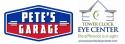 Pete's Garage and Tower Clock Eye Center logo