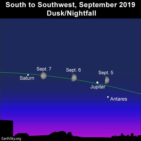 2019 sept 5 6 7 moon jupiter saturn