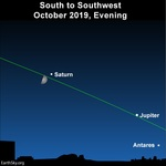 2019 october 05 jupiter antares saturn night sky