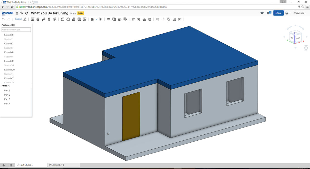House 3D CAD model created on Onshape