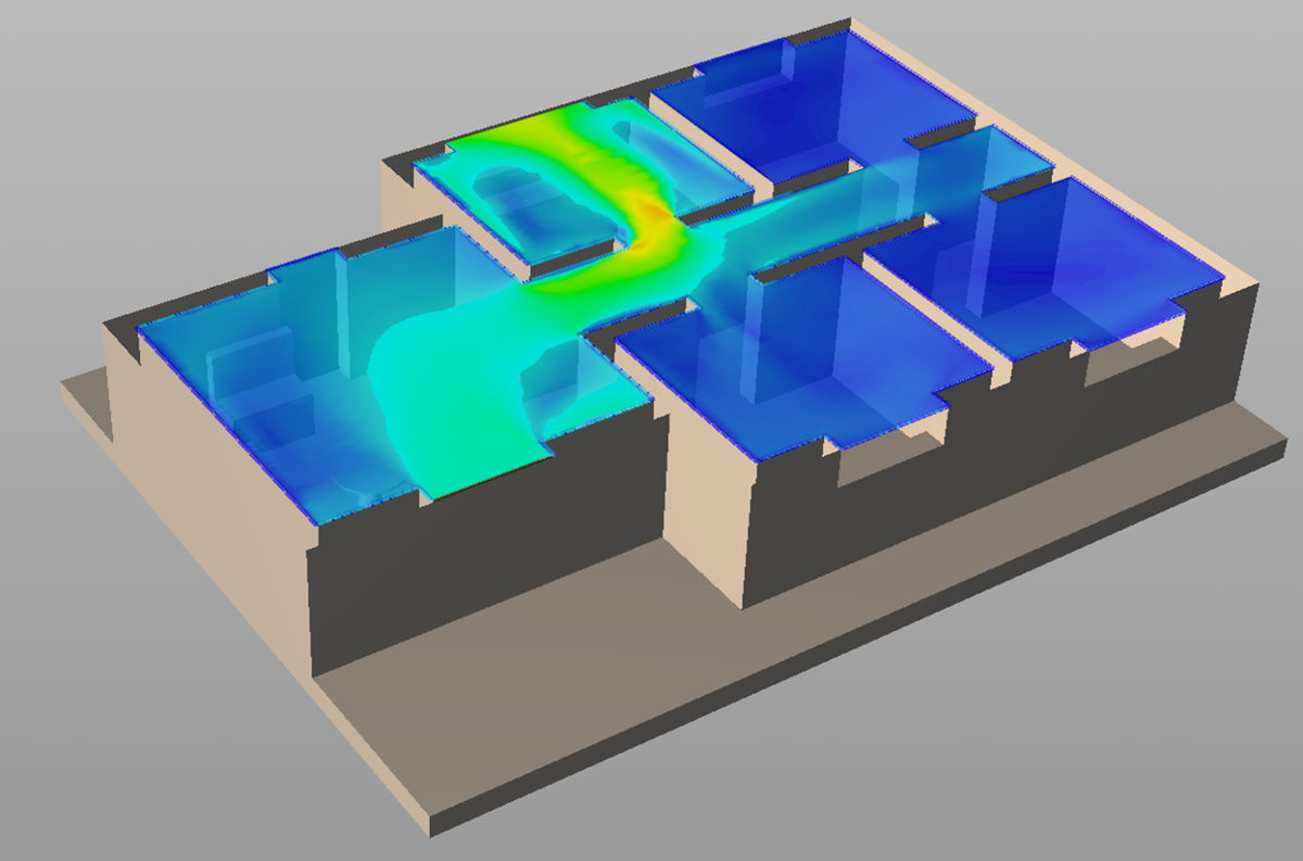 The solution 2 - house ventilatin CFD velocity