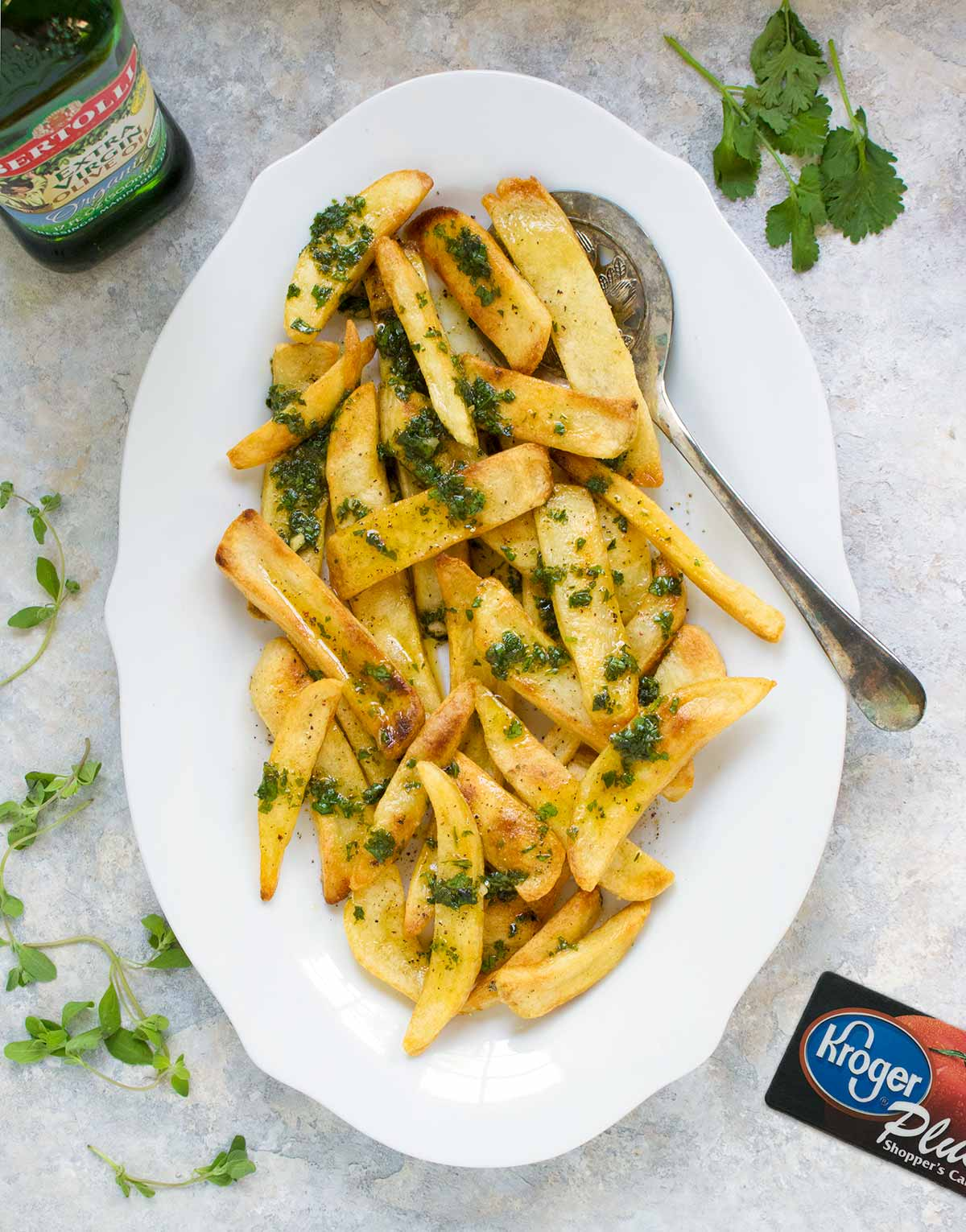 Chimichurri French Fries, with Bertolli Organic Olive Oil. Recipe at SoupAddict.com
