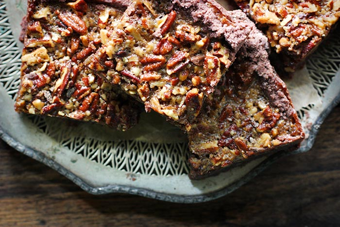 Chocolate Caramel Pecan Pie Bars by SoupAddict.com