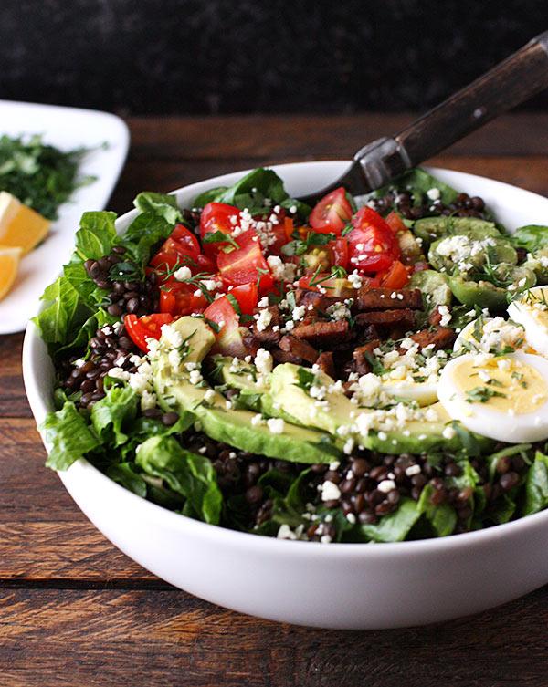 Vegetarian Cobb Salad Lentil Bowl from SoupAddict.com