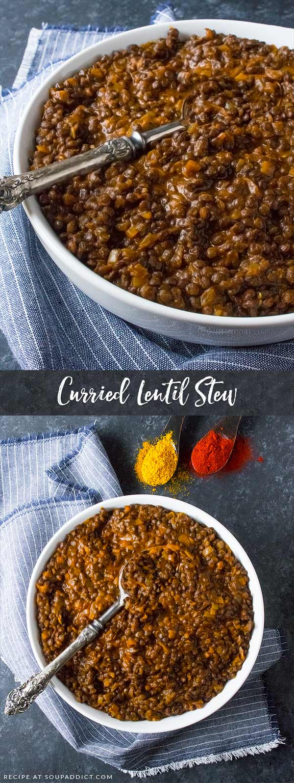 Curried Lentil Stew - with just seven ingredients you probably already have in your pantry, the best and easiest lentil stew is just 30 minutes away. Make-ahead awesome, simple, and satisfying. Recipe at SoupAddict.com | lentils | curry | stew | food in bowls