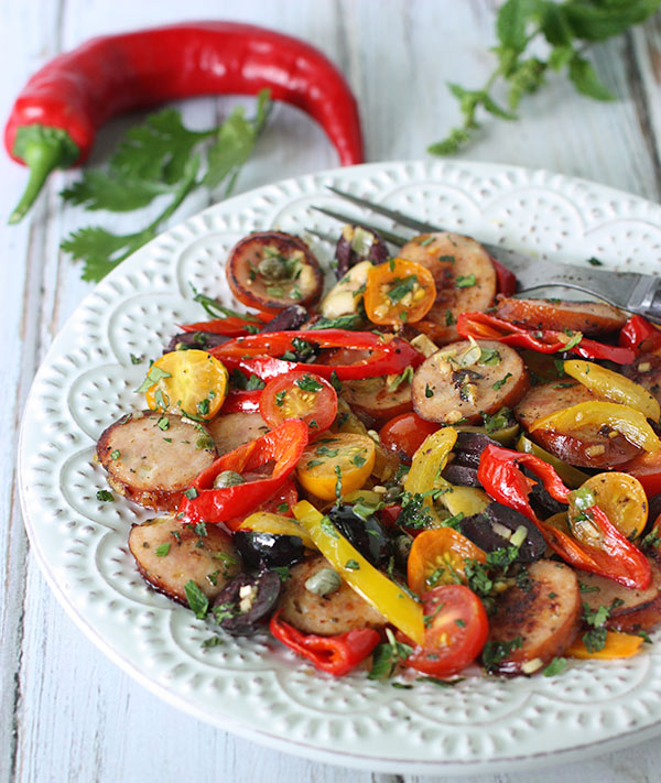 Frying Peppers, Cherry Tomatoes & Chicken Sausage Saute from SoupAddict.com