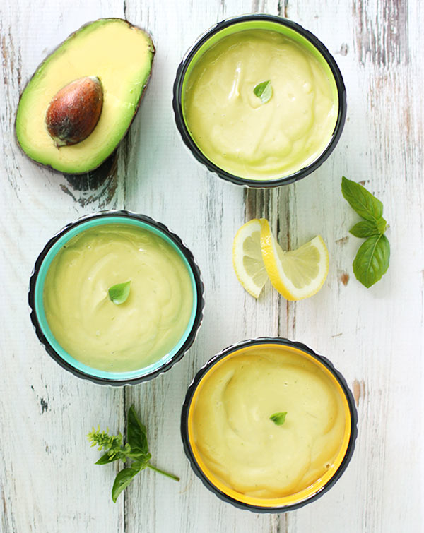 Bowls of Lemon Basil Avocado Soup